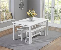Chichester 150cm White Dining Table With 2 Large Benches Swagger Inc