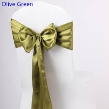 Green Chair Covers Olive Green Colour Satin Sash Chair High Quality Bow Tie For Chair