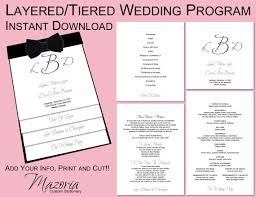 layered wedding programs wedding program layered tiered printable instant