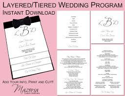 layered wedding programs wedding program layered tiered printable instant