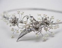 Silver Accessories Hand Crafted Silver Vintage Broach And Pearl Wedding Tiara