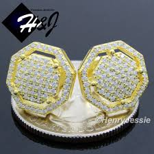 back earrings for men men 925 sterling silver 13x13mm octagon lab diamond iced out bling