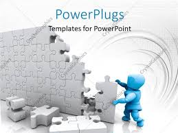 powerpoint template blue 3d man building high wall with jigsaw