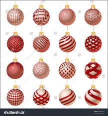 set red christmas balls ornaments winter stock vector 89989336