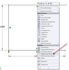 suppressing sketch relations in solidworks computer aided technology