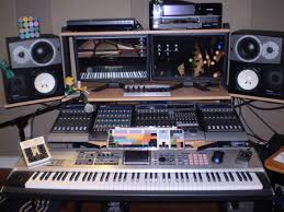 Recording Studio Workstation Desk by My Custom Built Production Desk With A Sliding 88 Key Controller