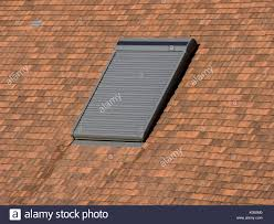velux roof light window with blind closed stock photo royalty