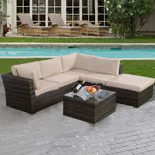 4 Piece Wicker Patio Furniture - gym equipment outdoor patio wicker furniture seat cushioned 4 pieces