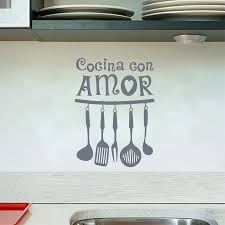 compare prices on amore decor online shopping buy low price amore spanish vinyl wall sticker cocina con amor wall art quote decals mural home kitchen decoration