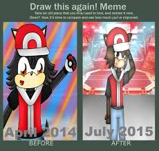 Pokemon Trainer Red Meme - draw it again meme pokemon trainer red in sonic fo by