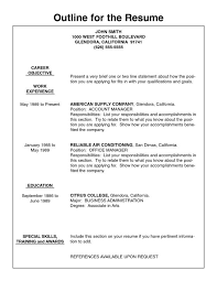 printable exles of resumes resume outlines exles musiccityspiritsandcocktail