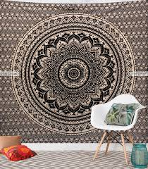 Bedroom Tapestry Wall Hangings Black Gold Indian Bohemian Mandala Wall Tapestry 100 Cotton