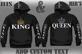king his hers pair of hoodies add custom text custom made