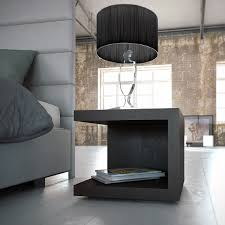 bedroom modern drum table lamp combine with dark wood modern
