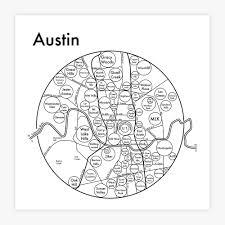 Map Austin by Austin Map Map Print U2014 Archie U0027s Press