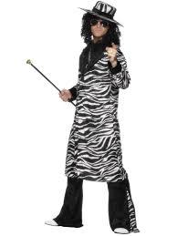 zebra halloween costume mens 70s pimp gangster big daddy with dollar medallion fancy