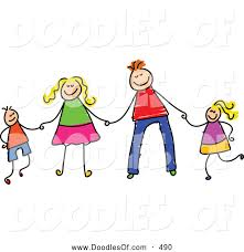 vector clipart of a child u0027s sketch of a happy stick figure family