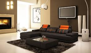 Sofa Set L Shape Furniture L Shaped Sofa Bed With Brown Cushion And Round Table On