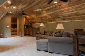 hickory ceiling bonus room kid room above garage in a cabin or