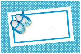 blank baby shower invite with blue shoes stock photo picture and