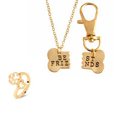 gold best friends necklace images Gold 2pc best friend necklace for you and your dog paw ring set JPG