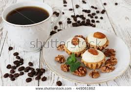 pancakes blueberry coffee on wooden background stock photo