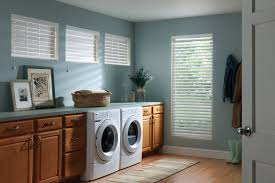 Wooden Blinds With Curtains Walnut Countertop Laundry Room Traditional With Blinds Curtains