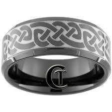 mens celtic wedding rings 10mm black beveled mens wedding ring tungsten celtic design sizes
