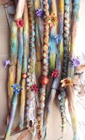 boho hair wrap 10 lucky clover flower maiden tie dye wool synthetic clip in or