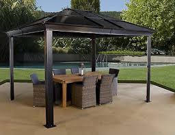 Awning Gazebo 12 U0027x14 U0027 Aluminum Body Hard Top Outdoor Gazebo Awning Brown