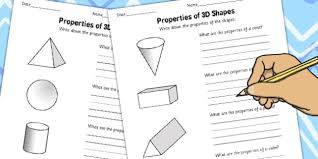 6 properties of 3d shapes activity worksheets shapes
