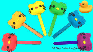 learn colours play doh rainbow kitty lollipops peppa pig