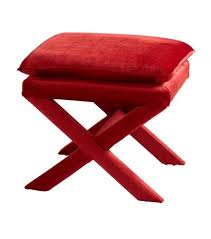 frame bright red ottoman footstool