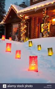 christmas lights on house with snow at night philadelphia usa