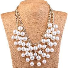 chunky pearl bib necklace images Kissweet chunky faux pearl bib necklace for women 3 jpg
