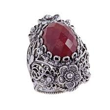 ottoman silver jewelry collection red corundum floral sterling