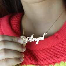 gold script name necklace gold initial birthstone script name necklace
