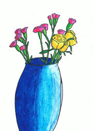 Vase Of Flowers Drawing Drawing Plants And Flowers U2013 Drawing With Other Colour Media