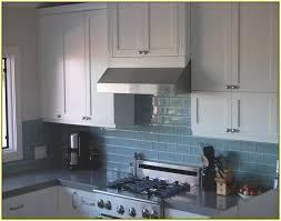 Glass Subway Tile Backsplash Simple Kitchen With Brown Glass - Blue subway tile backsplash