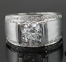 aliexpress buy mens rings black precious stones real 1 carat classic real solid 18k white gold ring diamond men s