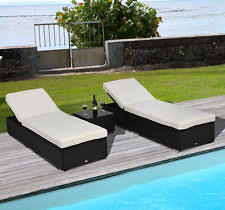modern chaise lounge patio double sunbed outdoor rattan black