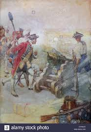 siege canon illustration of soldier robert clive firing a canon at the