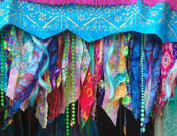 gypsy hippie boho beaded curtain window door valance fringe
