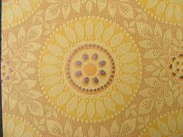 vintage wallpaper yellow sun flower embossed textured paper