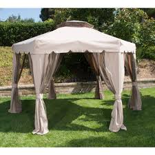 Portable Gazebo Walmart by Portable Hexagon Patio Gazebo With Double Roof Brown 12