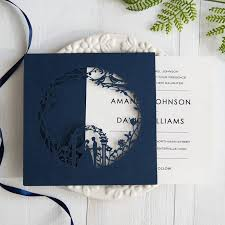 wedding invitations navy garden themed navy blue laser cut wedding invitations swws025