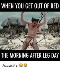 Morning After Meme - when you get out of bed the morning after leg day accurate