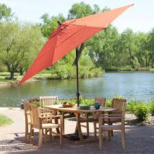 Patio Umbrella Commercial Grade by Push Button Tilt 11 Ft Patio Umbrella With Brick Red Orange Canopy