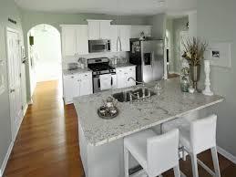 White Cabinet Kitchens With Granite Countertops Light Granite In White Kitchen Amazing Unique Shaped Home Design
