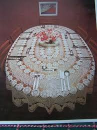 vintage crocheted oval tablecloth pattern 58 x 84 crochet coats 1260
